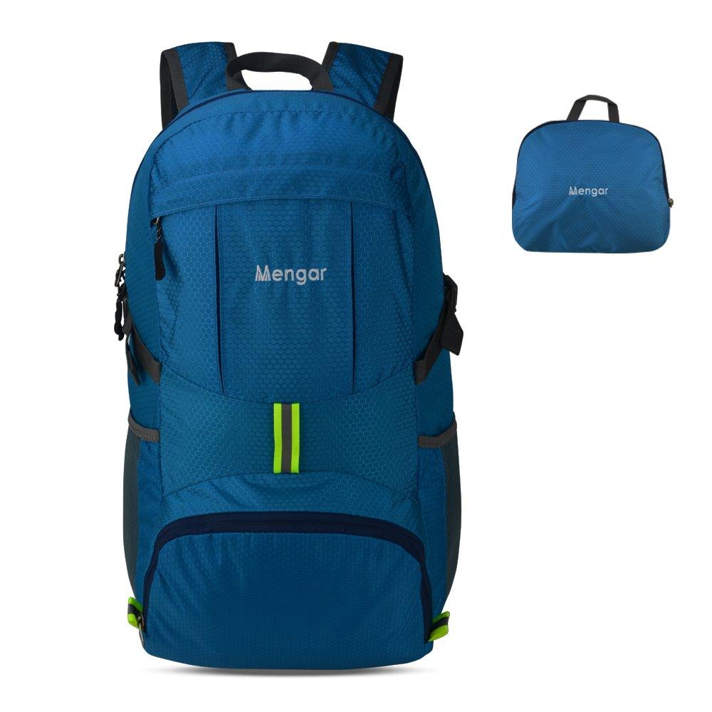 Backpack Daypack,Travel Backpack, Mengar 35L Foldable Water Resistant Packable Backpack Hiking Daypack - Ultralight and Handy & Lifetime Warranty (Blue)