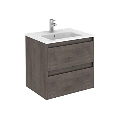 Ambra 60 Wall Mounted Bathroom Vanity Unit In Samara Ash
