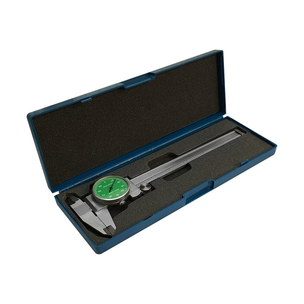 Green - 4 Way Dial Caliper 6'' Stainless Steel Shock Proof 0.001''