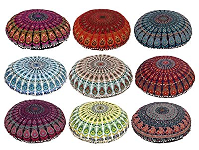 """Mandala ART Bohemian Yoga Decor Floor Cushion Cover - 32"""" inches - Round Floor Pillow Pouf Cover - Hand Printed Organic Cotton by Colorful"""