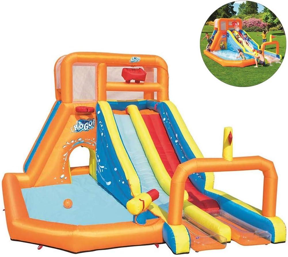 AUZZO HOME Castillos Hinchables astillo Inflable trampolín Inflable Juguetes inflables de Agua para niños con tobogán Agua Piscina de Escalada y soplador de Aire, 505 * 340 * 265 cm