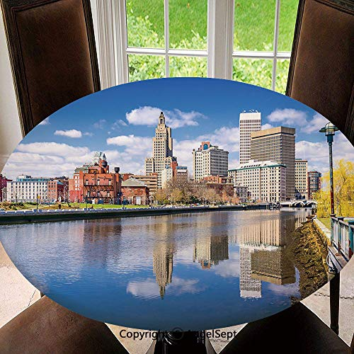 Elastic Edged Round Tablecloth Providence Rhode Island Riverfront Spring Season Water Reflection Buildings Decorative for Thanksgiving, Catering Events, Dinner Parties, Special Occasions or ()
