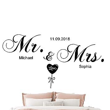 Wandtattoo Schlafzimmer Mr.&Mrs.mit Namen Datum personalisiert (60cmx30cm,  schwarz)