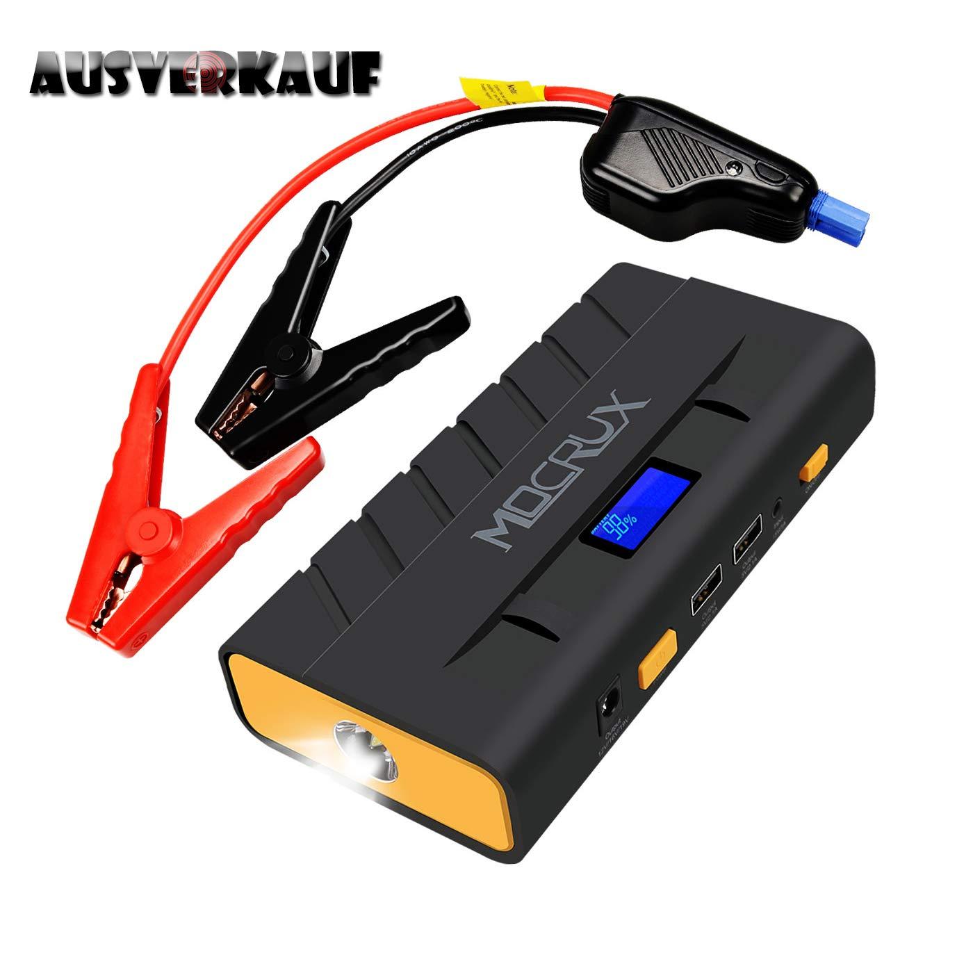 MOCRUX Auto Starthilfe, 500A Spitzenstrom 13600mAh Tragbare Autobatterie Anlasser, Externer Akku Ladegerä t mit Eingebaute LED Taschenlampe, LCD Display fü r Laptop, Smartphone, Tablet