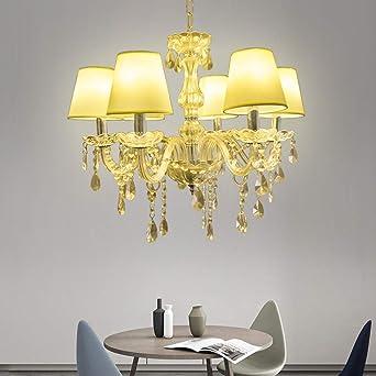Vingo® 6 de techo Araña – Lámpara colgante (Cristal Clásico Colgante de la luz de techo (colgante antiguo araña Blanco Cálido