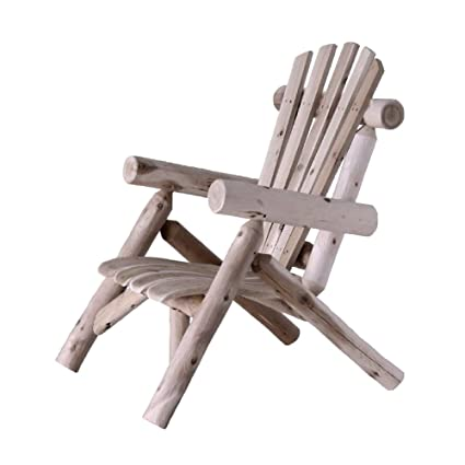 GHY Log Adirondack Chair Slatted Natural Cedar Wood Patio Outdoor Sun Large  Comfortable Hight Back Curved
