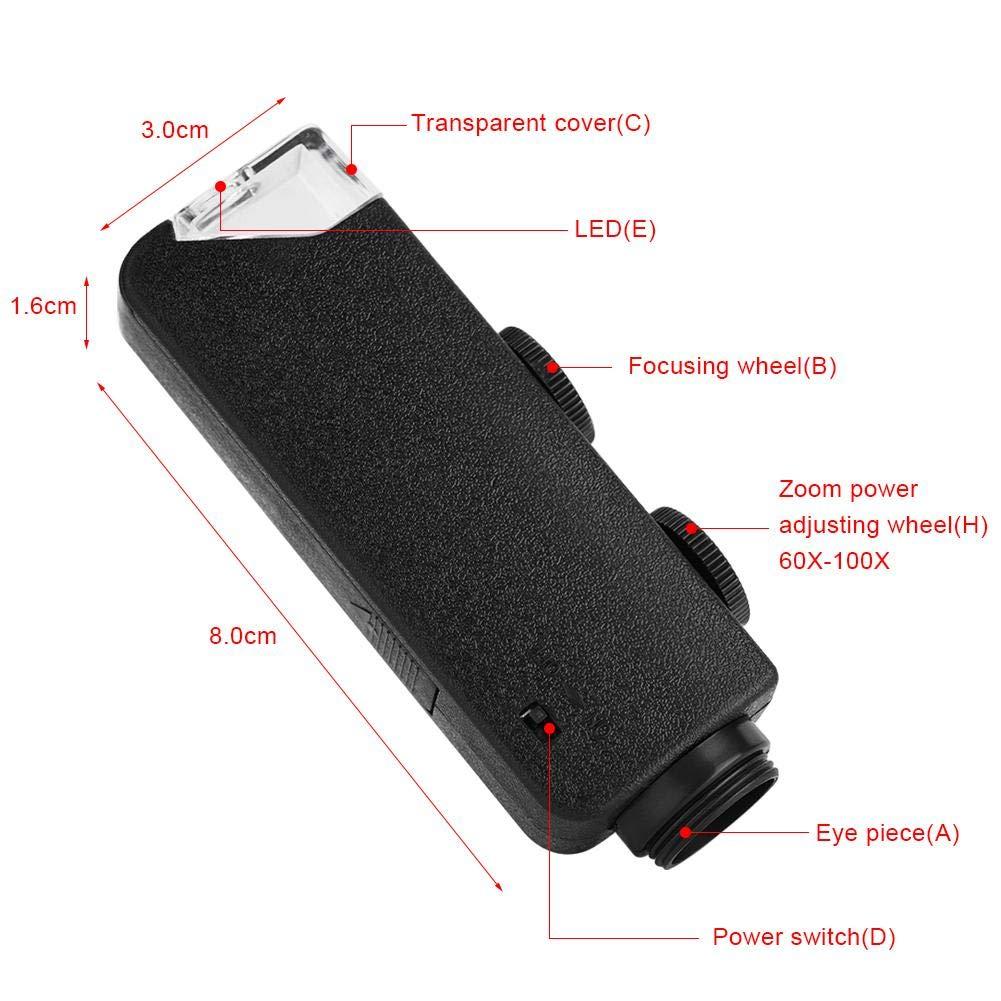 100/x Zoom con lente di ingrandimento LED clip-on universale per smartphone iPhone Samsung HTC Huawei 60/x