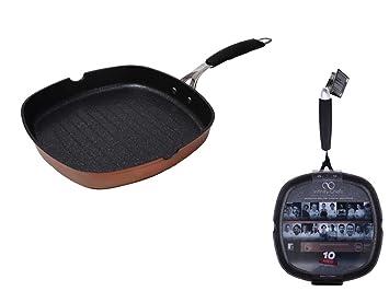 Bratpfanne Grillpfanne 28 x 28 cm Grill Pfanne Induktion Steakpfanne Antihaft