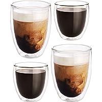 Redlemon Vasos de Vidrio con Doble Pared de Cristal para Capuchino o Vino (Paquete de 4), Tazas para Café y Vaso Térmico…