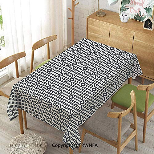 Wipe Clean Tablecloth for Rectangle Tables,Ornamental Motifs Vertical Horizontal Stripes Squares with Oval Corners Decorative,Waterproof Stain-Resistant,Charcoal Grey White,55
