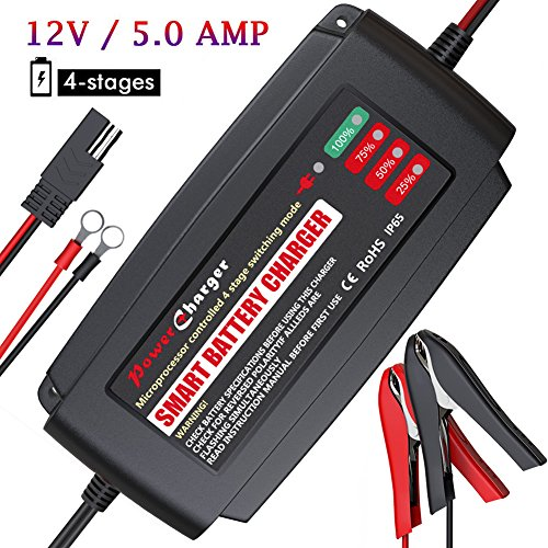 BMK 12V 5A Smart Battery Charger Portable Battery Maintainer with Detachable Alligator Rings Clips Fast Charging Waterproof Trickle Charger for Car Boat Lawn Mower Marine Sealed Lead Acid Battery (6 Cell Battery Main)