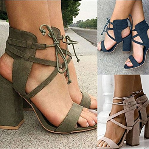 Maybest Kvinnor Chunky Klack Sandaler Peep Toe Skor Snör Åt Upp Party Beach Sandaler Svart