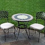 Alfresco Home Ponte Indoor Outdoor Round Mosaic Bistro Dining Set, 30-Inch