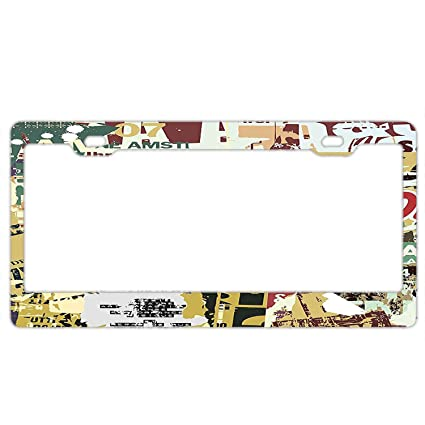 KuyuqudGVg License Plate Grunge Style Collage Print of Old Torn Posters  Magazines Newspapers Paper Art Print Custom License Plate Holder Durable  Car