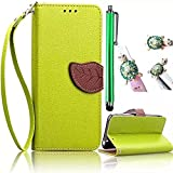Galaxy A5(2016) Case,Vandot 3 in 1 Set Premium Leaf Style Cover For Samsung Galaxy A5(2016) SM-A510F,High quality PU leather Magnetic Closure Flip Stand Wallet Card Slots Case With Detachable Wrist Strap+Universal Diamond Owl Anti Dust Plug+Stylus Screen Touch Pen-Green