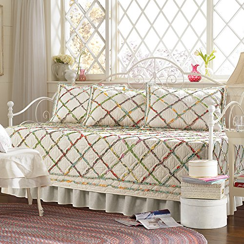 Laura Ashley 206829 Ruffle Garden 5 Piece Daybed Set, Mulit Pink - Blue Garden Bed Ensemble