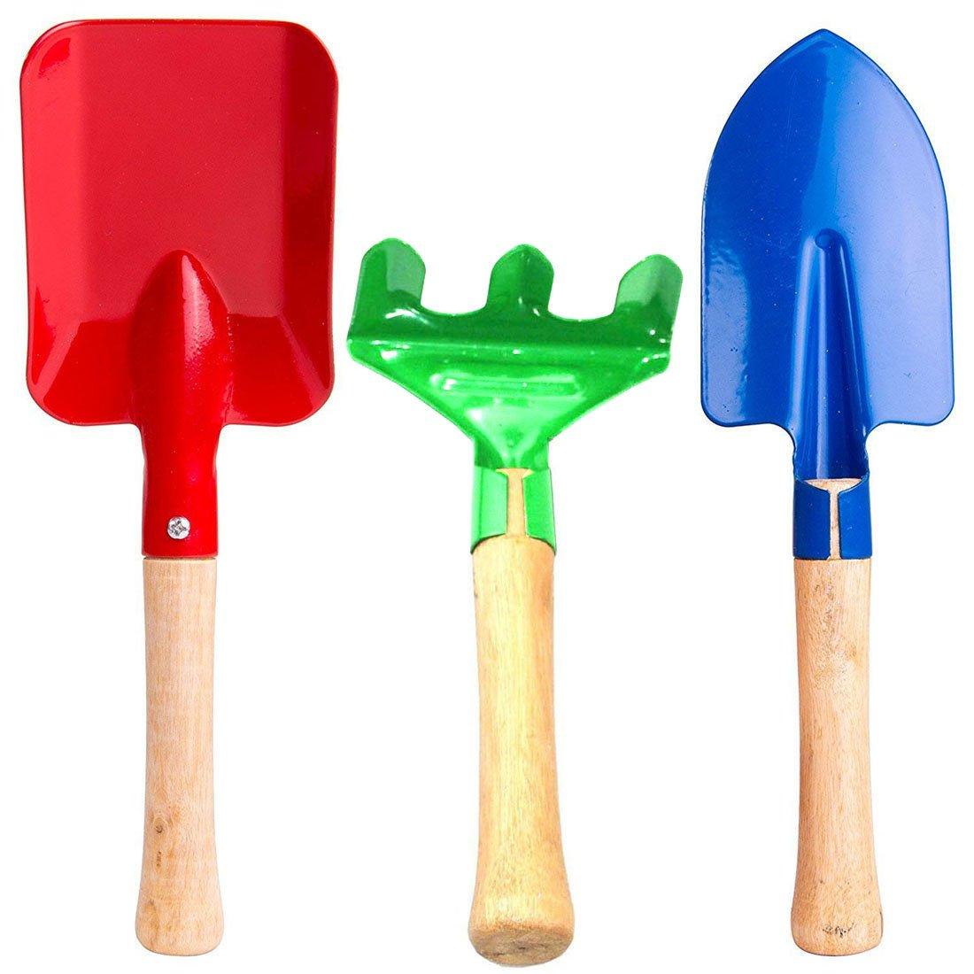 "Annymall Kids Garden Tools 3-Piece Set, 8"" Metal with Sturdy Wooden Handle Safe Gardening Tools Trowel, Rake & Shovel for Children Kids Beach Sandbox Toy"