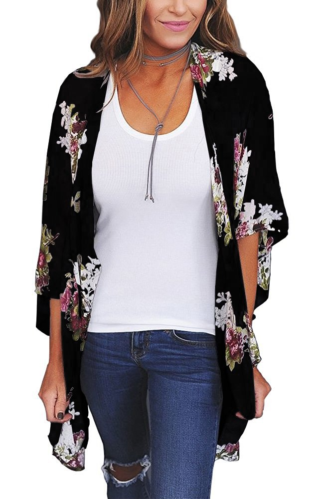Chunoy Women Floral Kimono Loose Short Sleeve Shawl Chiffon Casual Coat Black Medium