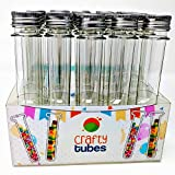 Crafty Tubes 25 Ultra Long Clear PET Plastic Test Tube Tubes Beaker Set with Thin Rack Holder, Wire Brush,Caps & 32 Labels, 25mm x 178mm (60ml) - Science, Shot, Beads, Candy, Containers & Craft Storage