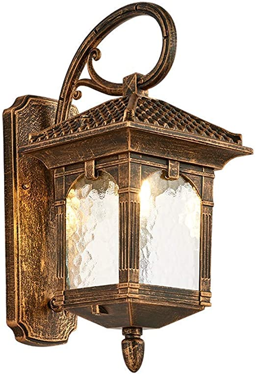 Lámpara de pared antigua a prueba de agua, luz de altavoz de balcón exterior retro Villa jardín luz de aluminio bombilla E27 [Clase de eficiencia energética A]: Amazon.es: Hogar
