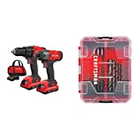 CRAFTSMAN V20 Cordless Drill Combo Kit, 2 Tool with Drill Bit Set, 85 Pieces (CMCK200C2 & CMAF1285)