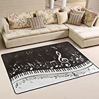 Naanle Music Area Rug 4x6, Abstract Piano Keys Musical Notes Polyester Area Rug Mat for Living Dining Dorm Room Bedroom Home Decorative