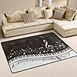 Naanle Music Area Rug 2'x3', Abstract Piano Keys Musical Notes Polyester Area Rug Mat for Living Dining Dorm Room Bedroom Home Decorative