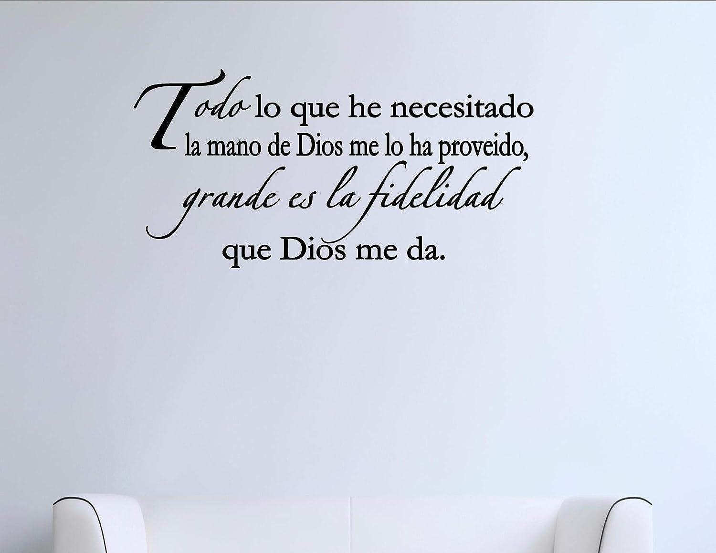 Amazon Com Spanish Vinyl Wall Quotes Espanol Todo Lo Que He Necesitado La Mano Di Dios M Furniture Decor