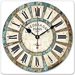 Amyove 12inch Vintage Roman Numeral Design France Paris Rusted Metal Look French Country Tuscan Style Paris Wood Wall Clock Daily Useful Adornment for Home Decor