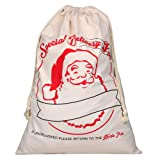 Amazon Price History for:Extra Large Cotton Santa Bag with Drawstring Tie Closure 39 x 27 Santa Sack for Christmas Presents, Stocking Stuffers & Holiday Gifts (1 PC)