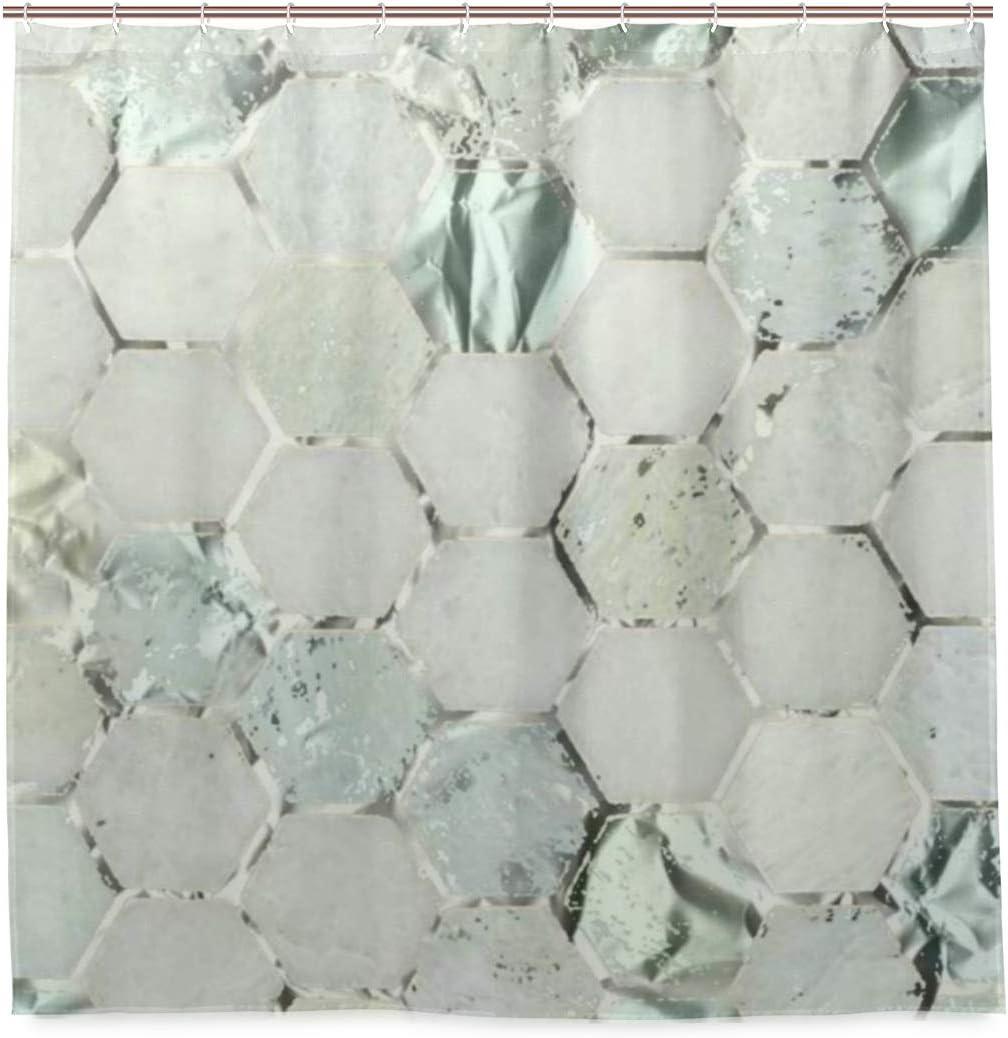 Cortina de ducha Hexagone Menta Aqua Plata Gris Metal Mármol Piedra Tela Poliéster lavable Resistente para baño con 12 ganchos 182.88 x 182.88 cm
