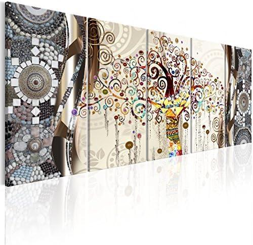 artgeist Handart Canvas Wall Art Gustav Klimt 150×60 cm / 59″x23.6″ 5cs Painting Canvas Prints Picture Artwork Image Framed Contemporary Modern Photo Wall Home l-A-0006-b-n
