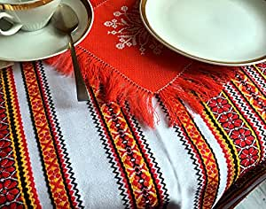 "VALENTINE GIFT Decorative fabric with Ukrainian ornament Tablecloth Easter ethnic white red yellow black 150x220 cm / 59""x87"""