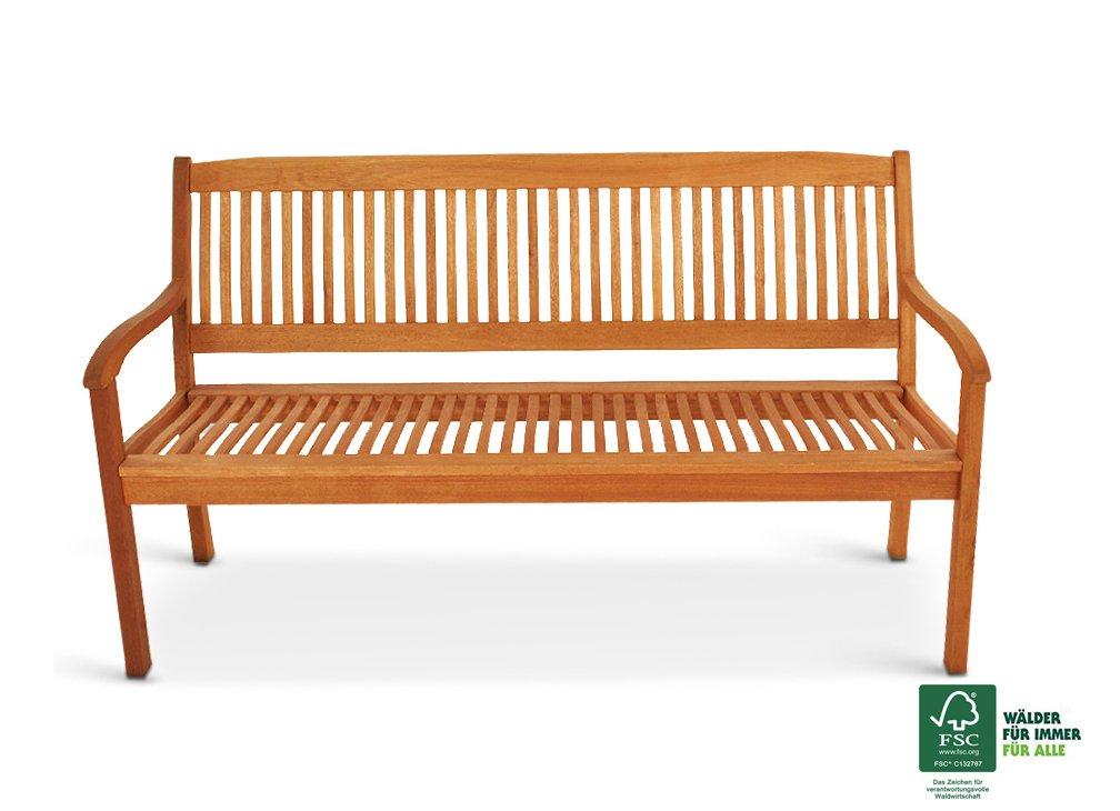 SAM® Garten-Bank aus Akazien-Holz, FSC® 100% zertifiziert, 157 cm Breite, 3-Sitzer Holzbank, Balkon-Bank aus Akazien-Holz geölt, Garten-Möbel braun, Massiv-Holz-Bank für Terrasse [521234]