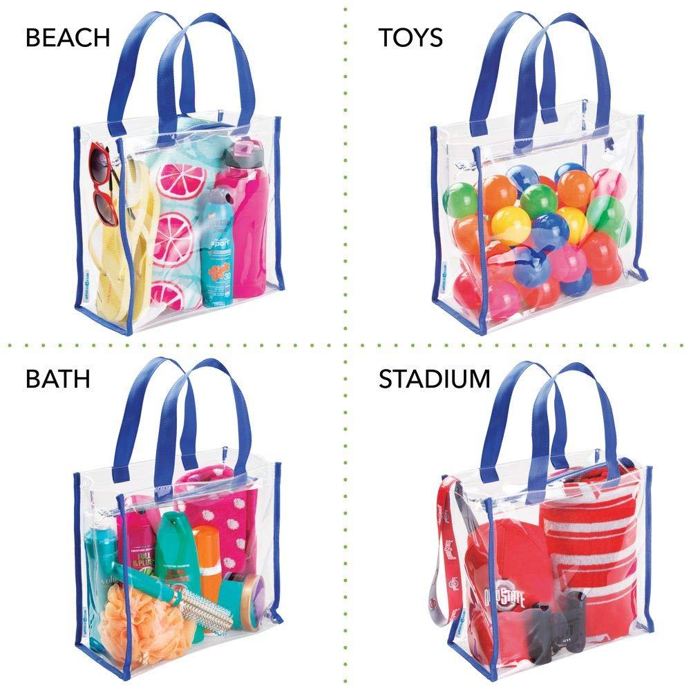 mDesign sac de voyage pour transport d/'accessoires transparent bleu marine produits cosm/étiques ou pour transporter les ustensiles de la plage sac organisateur pour produits de soins