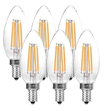 6X E14 Edison 4W C35 Bombilla Filamento LED, Equivalente Incandescente 40W, Casquillo Fino E14 SES, Blanco Cálido 2700K, 420 Lumen, AC 220-240V: Amazon.es: ...
