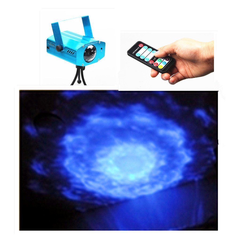 ELEOPTION 7 Color Remote 3W RGB LED Water Wave Ripple Effect Stage Light lighting Projector with Mini Tripod for Party DJ Show Christmas Birthday Party (Blue) ZL-116-0145-US