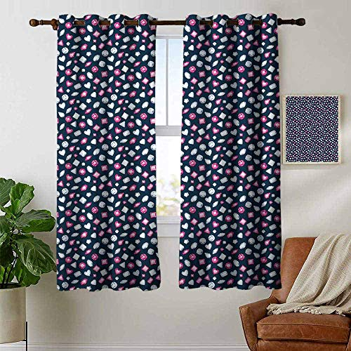 petpany Blackout Curtains for Bedroom Diamonds,Round Marquise Square and Heart Shaped Crystals with Ruby Arrangement,Dark Blue Pink Pearl,Darkening Grommet Window Curtain 1 Pair 42