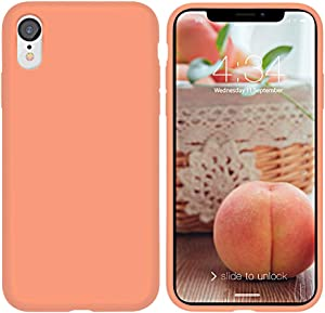 """xperg iPhone XR Case, iPhone XR Case Silicone, Slim Liquid Silicone Gel Rubber Shockproof Case Soft Microfiber Cloth Lining Cushion Compatible with iPhone XR 6.1"""" 2018 (Peach (Full Body))"""