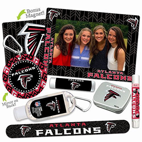 Atlanta Falcons—DELUXE Variety Set (Nail File, Mint Tin, Mini Mirror, Magnet Frame, Lip Shimmer, Lip Balm, Sanitizer). NFL gifts for Valentine's Day, Easter, Mother's Day, stocking - Store Atlanta Glass