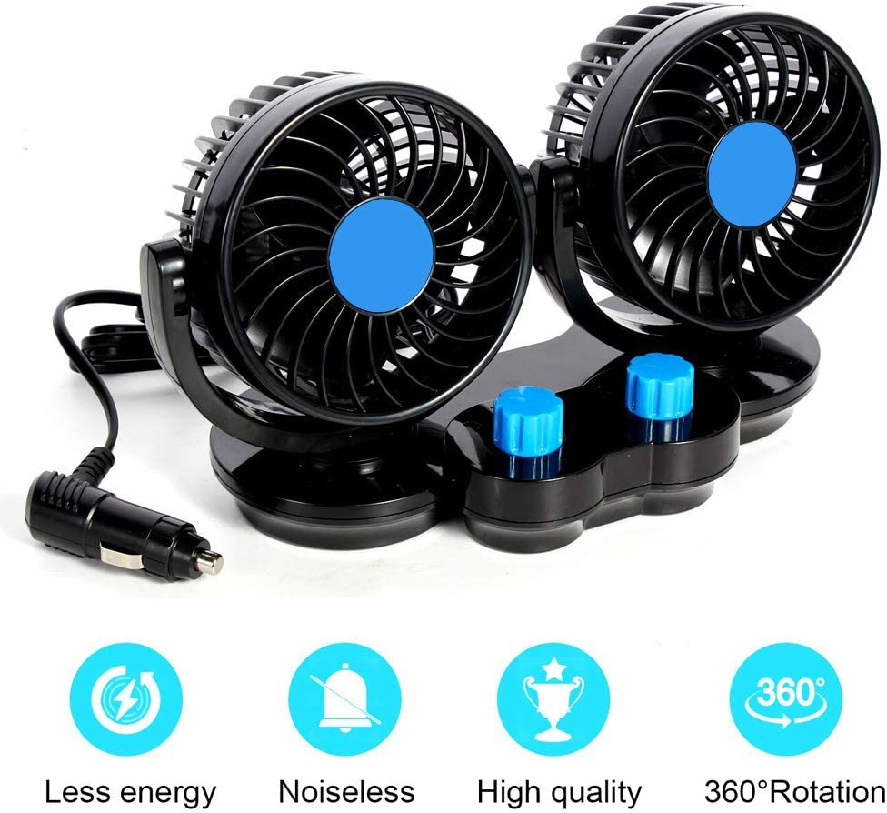 "Car Fans Cigarette Lighter, Auto Cooling Air Fan 360° Rotatable 4"" Dual Head Fans for Cars, 12V Ventilation 2 Speed Powerful Quiet Fans Cooler for SUV RV Truck Vehicles or Home"