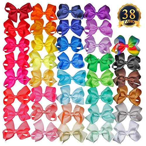 SUBANG 38 Pack 4.5 Inch Hair Bows Grosgrain Ribbon Boutique Hair Bows Alligator Clips Big Hair Clips For Girls Teens Toddlers Kids (38 Colors)