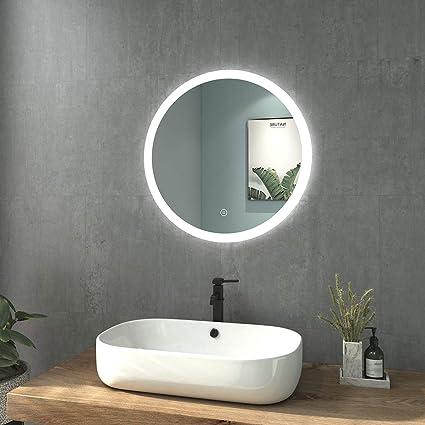 Welmax Badezimmerspiegel Mit Beleuchtung Rund Badspiegel 60 Cm Durchmesser Led Spiegel Kaltweiß Lichtspiegel Wandspiegel Mit Touchschalter