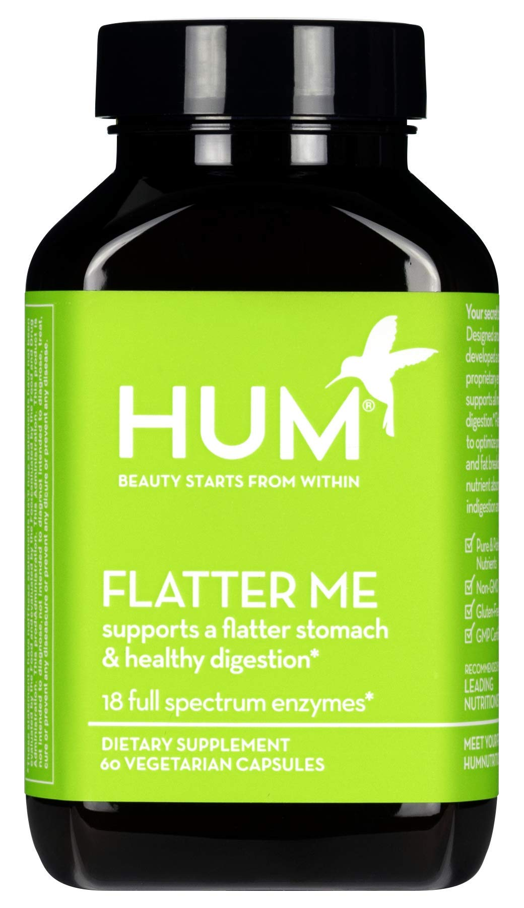 HUM Flatter Me - Digestive Enzymes to Support a Flatter Stomach & Less Bloating (60 Vegan Capsules) by HUM