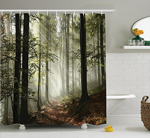 Dark Brown Forest Green - Ambesonne Farm House Decor Collection, Dark Forest Route Surrounded by Fog in the Sunshine Day Time in Mother Earth Image, Polyester Fabric Bathroom Shower Curtain, 75 Inches Long, Green Brown