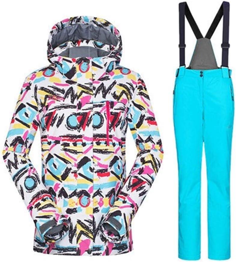 Blau set M TEYUN Damen Winterjacke Winter Anzug Skijacke Damen wasserdichte Hose Snowboard Anzug Snowboard Jacke Ski-Sport-Klage wasserdichter Snowboarding