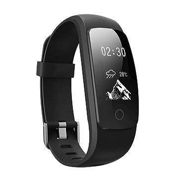 FLy Pulsera Inteligente ID107 Plus HR Ritmo Cardíaco Deportes Paso Pulsera Bluetooth Soporte De Reloj Reloj Inteligente (Color : Negro): Amazon.es: Deportes ...