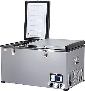 COSTWAY Car Travel Freezer, 84 Quart Portable 2-door Compressor Freezer -0.4°F to 50°F, Electric Powered Cooler Mini Fridge For Car and Home, Camping, Truck Party (84 Quart)