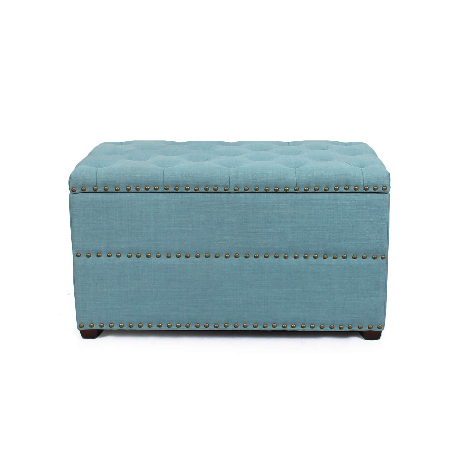 Decent Home Rectangular Blue European Style Tufted Ottoman with Storage by Decent Home