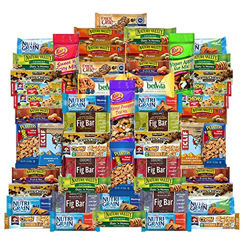 Healthy Mixed Bars and Nuts Snack Box & Snacks Gift Variety Pack (Care Package 55 Count)